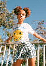 Thank You Smiley Tee / womens graphic tees / vintage style retro 60s 70s t shirt / smile grocery bag / yellow gold thanks happy