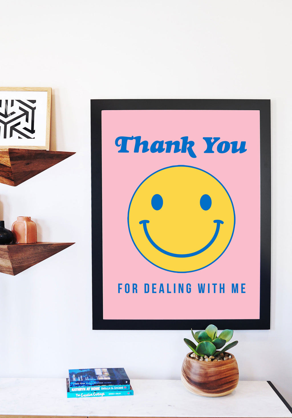 Thank You Smiley Poster Print / 18x24 wall art prints decor / vintage retro 80s / smile grocery bag / yellow gold thanks happy