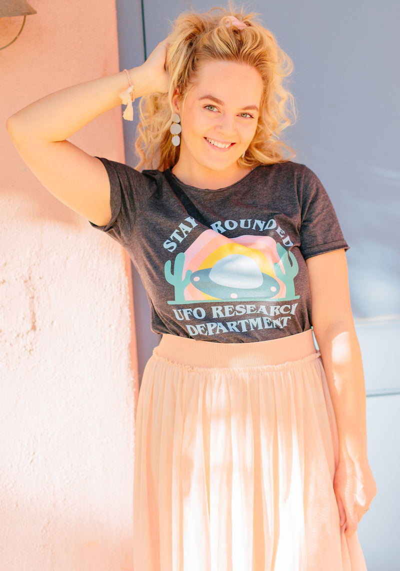 UFO Research Dept Tee / womens graphic tees / vintage style 70s retro southwest t shirt / alien area 51 rainbow gifts souvenir t-shirt
