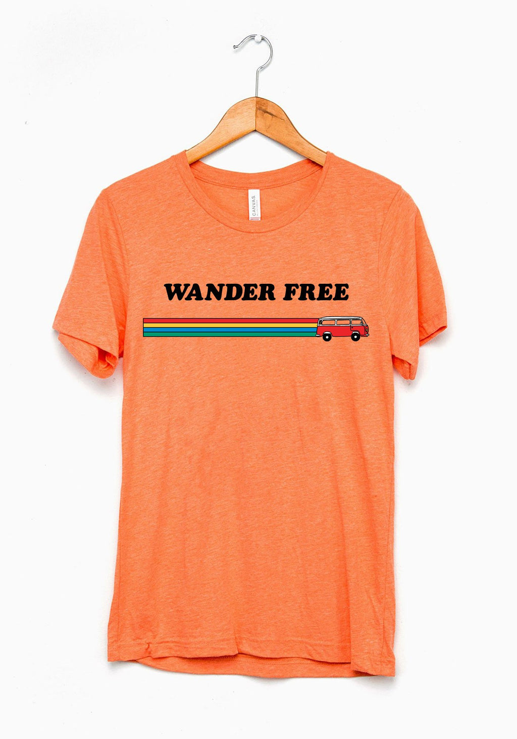 Wander Free Tee / womens graphic tees / 70s 60s vintage style t shirt / wanderlust travel shirt / bus van life