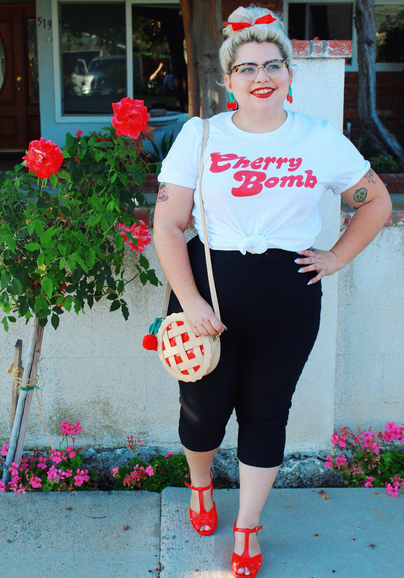 Cherry Bomb Tee / womens graphic tees / 70s vintage style t shirt / shirts with sayings bag girl runaway band tshirt