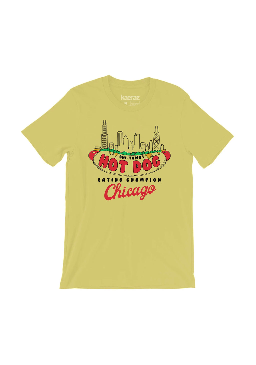Chicago Hot Dog Champion Tee / womens graphic tees / vintage style t shirt / chi-town skyline shirt / Illinois windy city souvenir t-shirt