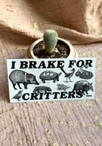 I Brake For Critters Bumper Sticker / stickers pack set laptop art / southwest vintage style / animal lover vegan / car vinyl die cut decal