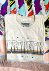 The Dreamer Tee / womens graphic tees / 60s 70s band t shirt women / stars rainbow tshirt / dreamin vintage style t shirt
