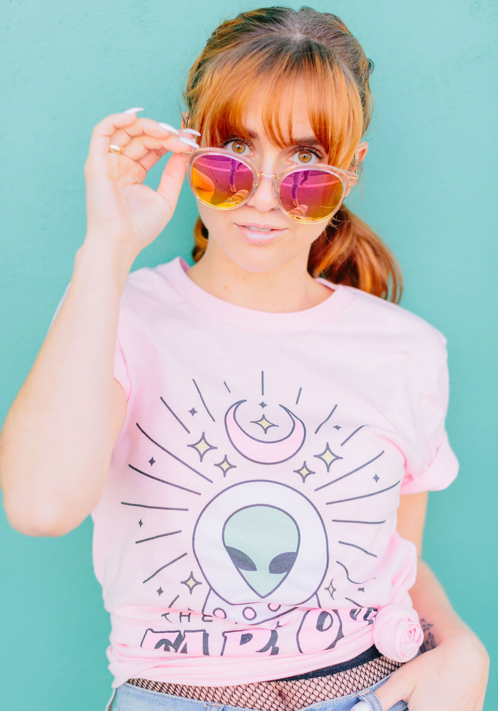 Far Out Future Tee / womens graphic tees/ psychic ufo alien/ pastel goth tshirt / witch witchy clothing / palm reader fortune teller