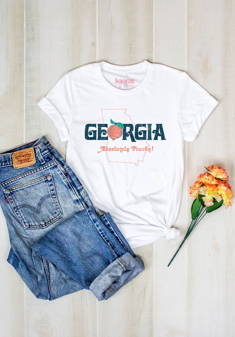 Absolutely Peachy Tee / womens graphic tees / georgia ga vintage style t shirt / peach state atlanta shirt / souvenir t-shirt