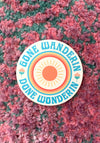 Gone Wanderin Sticker / stickers pack set laptop art / 70s 60s retro vintage style / sun flowers hippie hippies / vinyl die cut decal