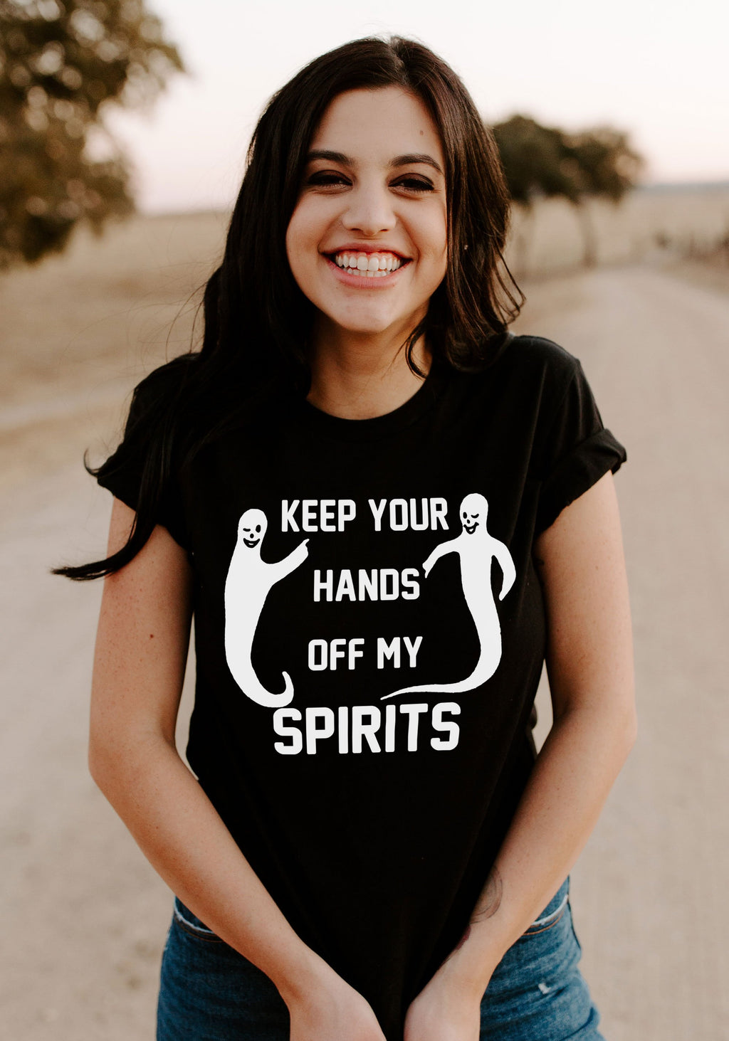 Hands Off My Spirits Tee / womens graphic tees / witch clothing tshirt / halloween shirt women / cute ghost ghoul mystical witchy gifts