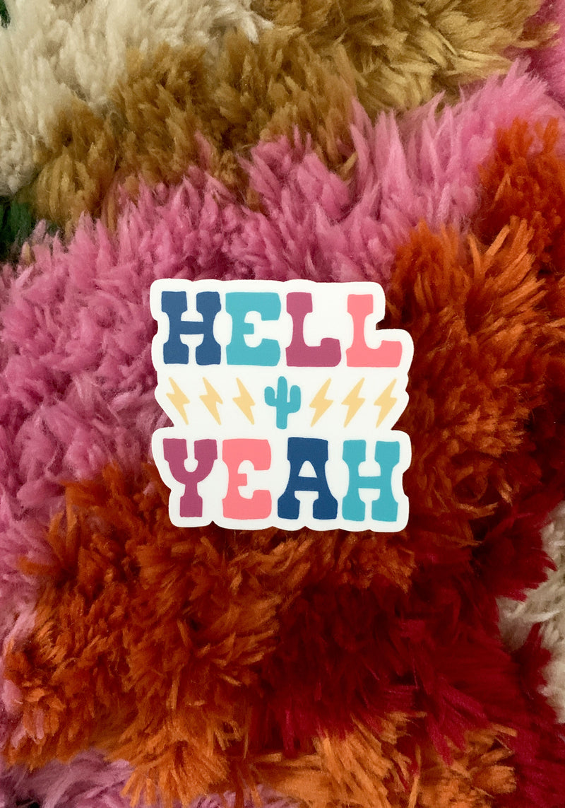 Hell Yeah Sticker / stickers pack set laptop art / cool 80s vintage style / lightning bolt cactus southwest / vinyl die cut decal