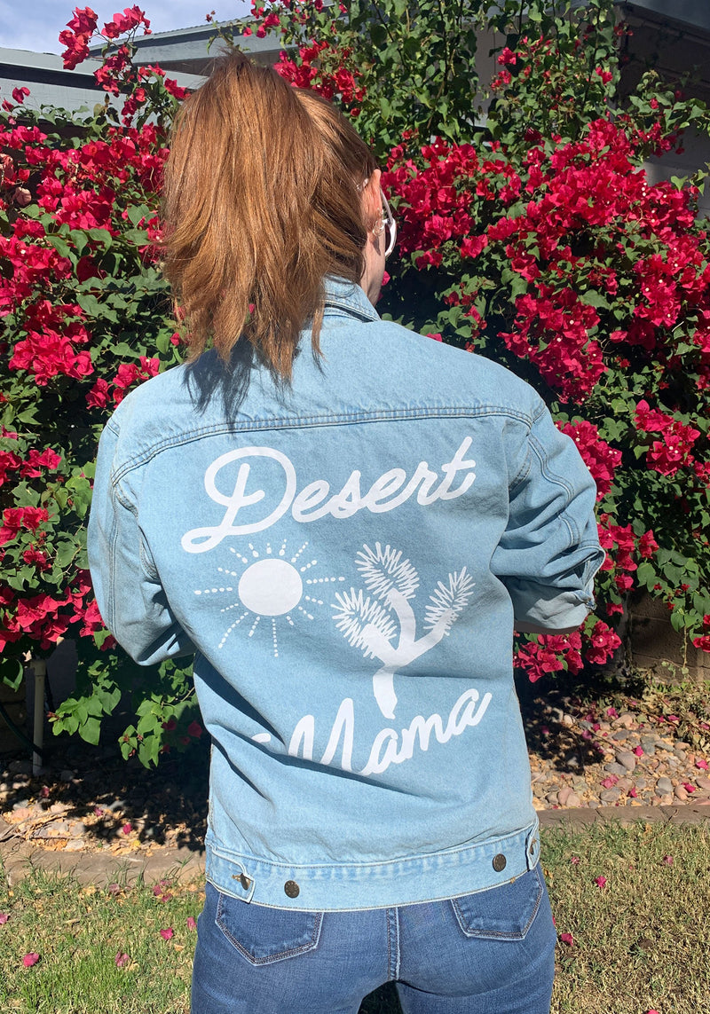 Desert Mama Denim Jacket / jean jackets for women / vintage style 70s t shirt / cactus sun southwest shirt / arizona gifts souvenir t-shirt
