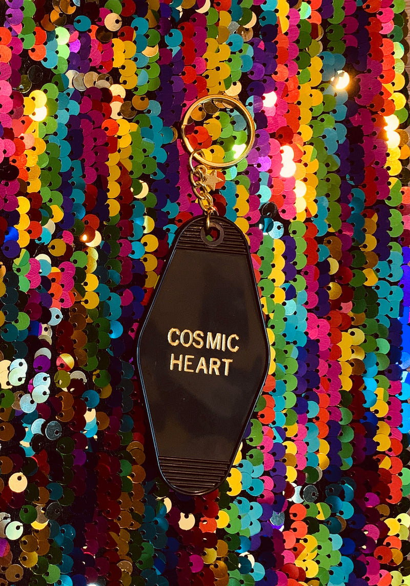 Cosmic Heart Keychain / key chains for women / motel tag hotel accessories black acrylic gold / mystical witchy gifts / souvenir gift