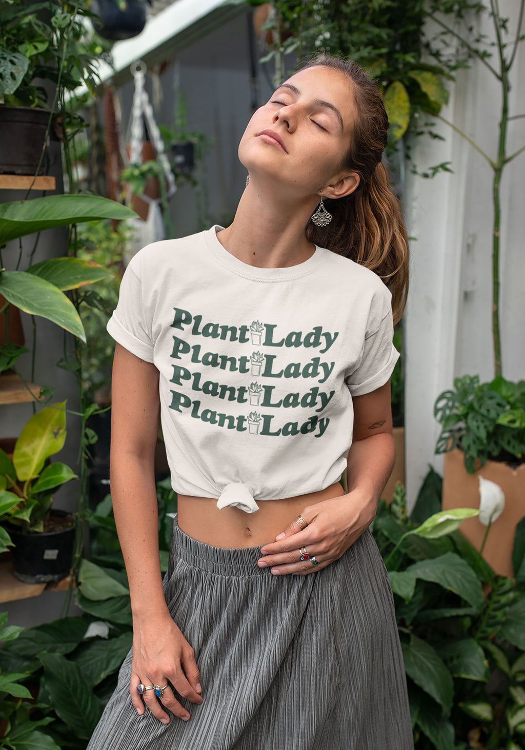 Plant Lady Tee / womens graphic tees / garden plants lover crazy shirt gifts for her / vintage retro shirts with sayings / green thumb