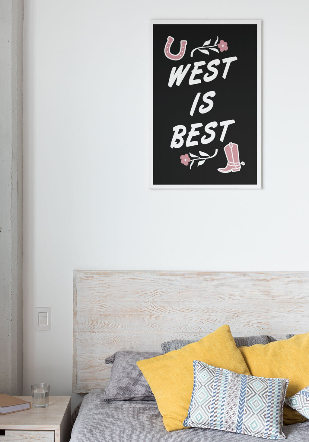 West is Best Poster Print / 18x24 wall art prints / vintage retro cowgirl / southwest decor style / western gifts illustration