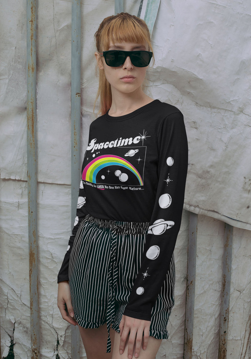 Spacetime Long Sleeve Tee / womens graphic tees / 70s 80s vintage style retro space time rainbow t shirt / outer galaxy stars planets tee