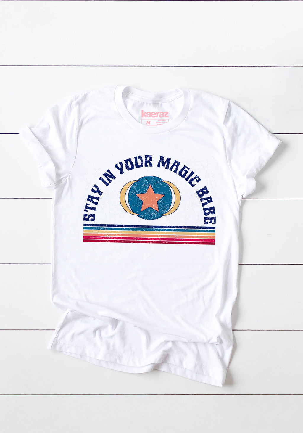 Stay In Your Magic Tee / womens graphic tees / 60s 70s retro t shirt women / babe rainbow festival tshirt / stars vintage style t shirt