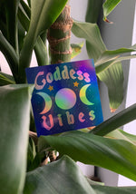 Goddess Vibes Holographic Sticker / stickers pack set laptop art / witch witchy rainbow / tarot mystical / psychic magic / die cut decal