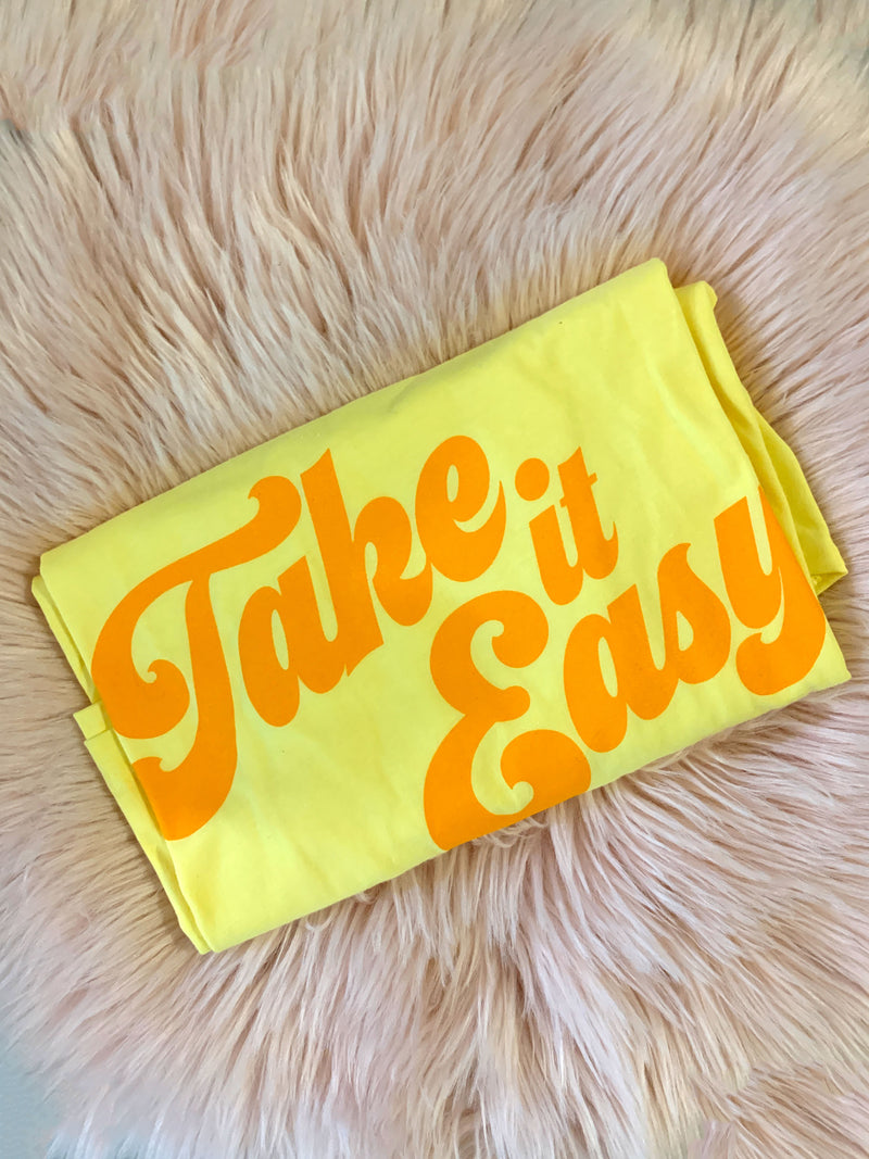 Take it Easy Tee / womens graphic tees / 70s 60s vintage style retro seventies t shirt / shirts with sayings tee
