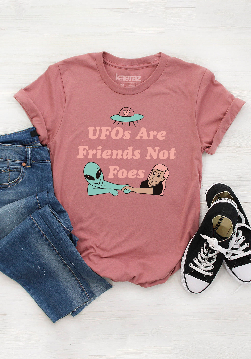 UFOs Are Friends Tee / womens graphic tees / alien outer space ufo shirt / galaxy extra terrestrial / paranormal sighting t shirt