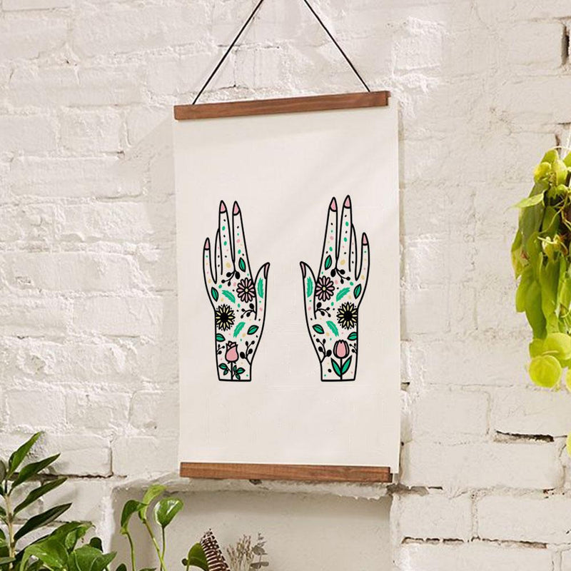 Flower Hands Illustration / wall art tattoo art print / Scandinavian folk art home decor