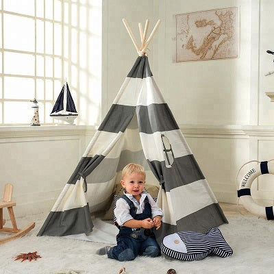 Grey Striped Canvas Teepee