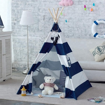 Navy Stripe Canvas Kids Teepee