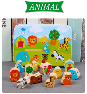 Beech Wood Blocks Cartoon Animals By Our Smarter Toddlers