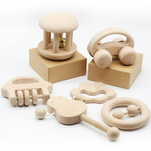 Montessori Wooden Rattles (Set of 6) By Our Smarter Toddlers