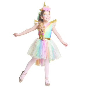 Rainbow Unicorn dress with headband and wings