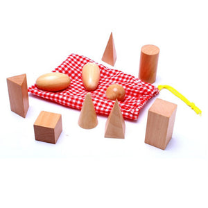 Wooden Montessori Mystery Bag with Geometry Blocks: 10PCS/Set By Our Smarter Toddlers
