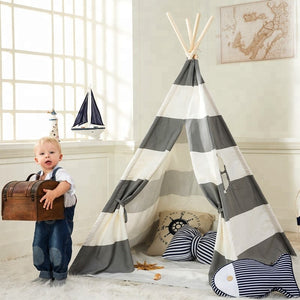 Grey Striped Canvas  Teepee By Our Smarter Toddlers