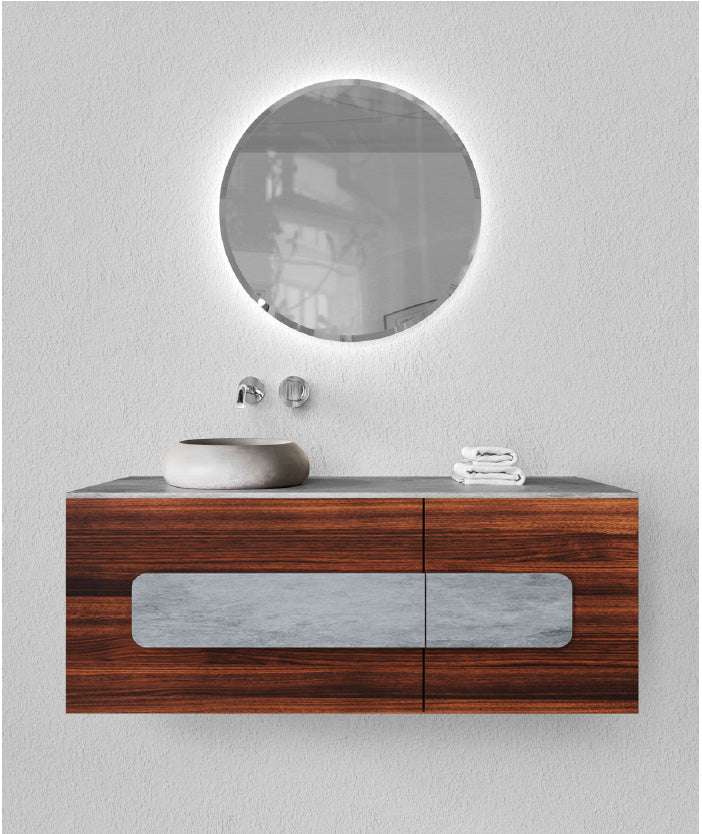 MEEK BATHWARE Cushion Vanity 1200x450x500 with 1 pull draw and 1 pivot door - Basin sold separately - Timber and concrete finish available - by Joshua Gullaci | The Source - Bath • Kitchen • Homewares