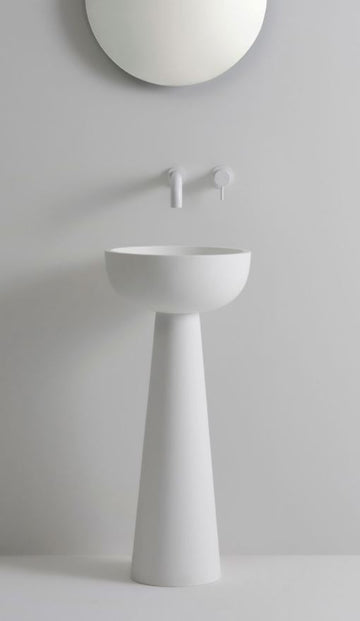 UNITED PRODUCTS Lunar Pedestal Basin by Thomas Coward Studio - Available in colors Matt White, Matt Sand, and Matt Sand Grey | The Source - Bath • Kitchen • Homewares