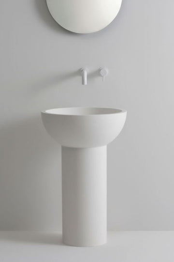UNITED PRODUCTS Siren Pedestal Basin by The Stella Collective - Matt White with optional aluminum basin insert | The Source - Bath • Kitchen • Homewares