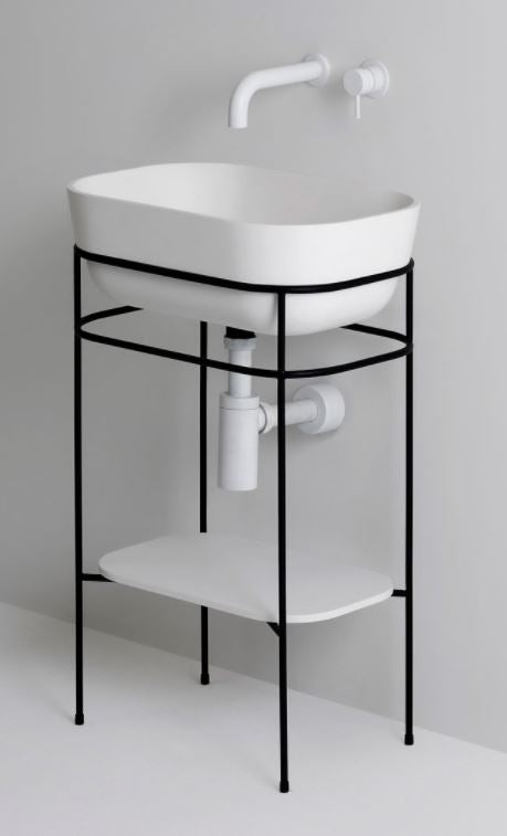 UNITED PRODUCTS Contour Pedestal Basin designed by Thomas Coward Studio - Metal Frame options available | The Source - Bath • Kitchen • Homewares