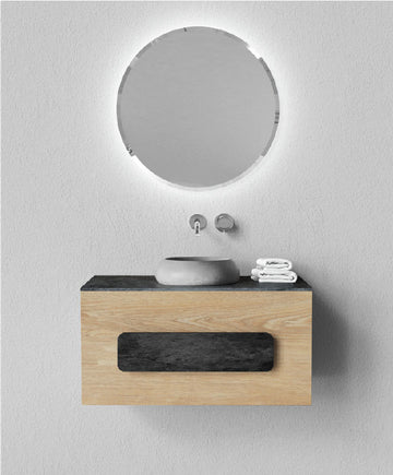 MEEK BATHWARE Cushion Vanity 900x450x500 with 1 pull draw - Basin sold separately - Timber and concrete finish available - by Joshua Gullaci | The Source - Bath • Kitchen • Homewares
