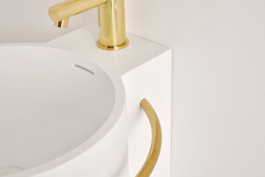 UNITED PRODUCTS Wall Hung Halo Basin by: Thomas Coward Studio. Available in various Metal Ring colors (Matt Black, Polish Brass, Matt White, Custom Color) - Available in colors: Matt White, Matt Sand, and Matt Sand Grey | The Source - Bath • Kitchen • Homewares