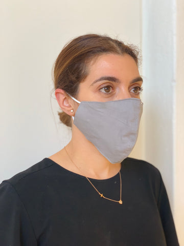 LIGHT GREY FACE MASK AUSTRALIA 100% COTTON AND WASHABLE