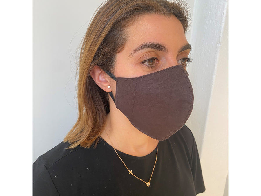 BROWN FACE MASK AUSTRALIA 100% COTTON AND WASHABLE
