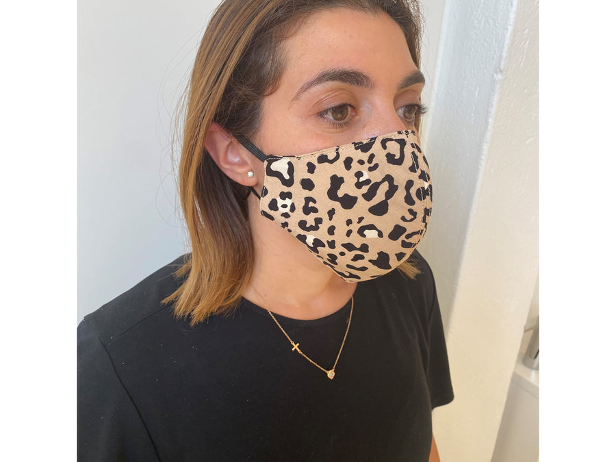 LEOPARD / WHITE DOT FACE MASK AUSTRALIA 100% COTTON AND WASHABLE
