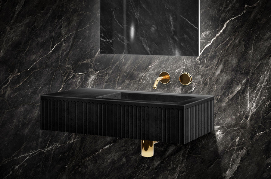 MEEK BATHWARE Doric Wall Hung Vanity Basins - Single or Double Sinks - by Joshua Gullaci | The Source - Bath • Kitchen • Homewares