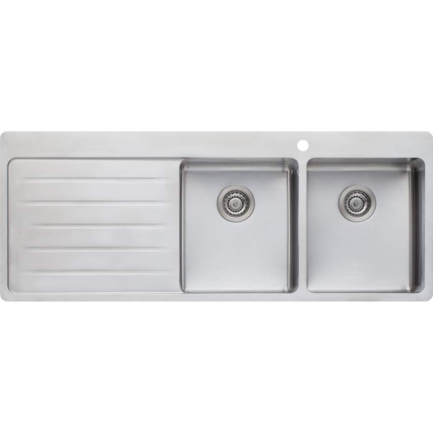 OLIVERI Sonetto Double Bowl Topmount Sink With Drainer | The Source - Bath • Kitchen • Homewares