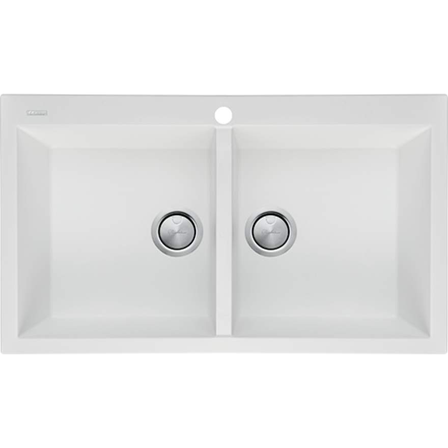 OLIVERI Santorini White Double Bowl Topmount Sink | The Source - Bath • Kitchen • Homewares
