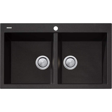 OLIVERI Santorini Black Double Bowl Topmount Sink | The Source - Bath • Kitchen • Homewares