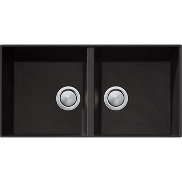 OLIVERI Santorini Black Double Bowl Undermount Sink | The Source - Bath • Kitchen • Homewares