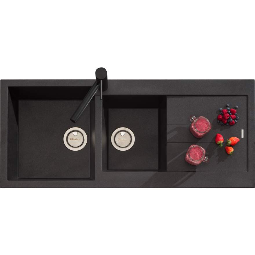 OLIVERI Santorini Black 1 & 3/4 Bowl Topmount Sink With Drainer | The Source - Bath • Kitchen • Homewares