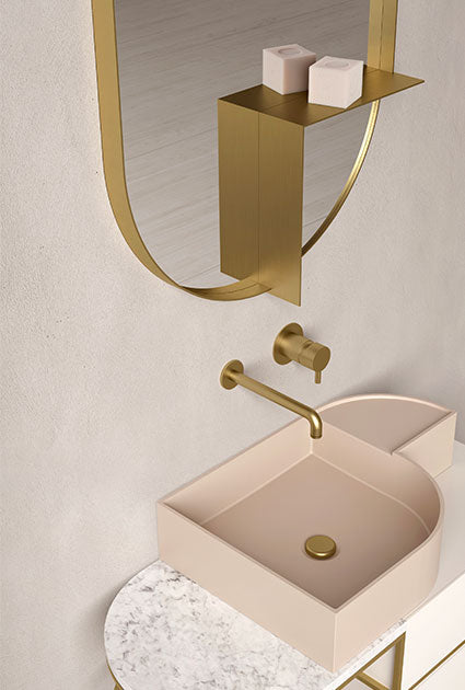 Ex.t Nouveau Shelf Mirror Brass