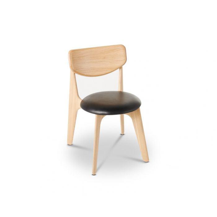 TOM DIXON Slab Dining Chair Natural Upholstery - Black Leather Seat | The Source - Bath • Kitchen • Homewares
