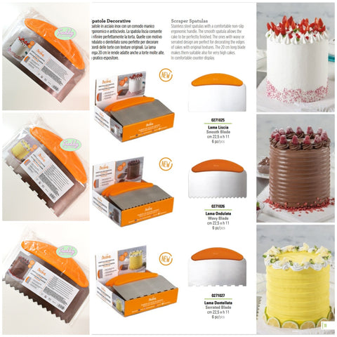 Spatole decorative in acciaio con manico per torte cake design