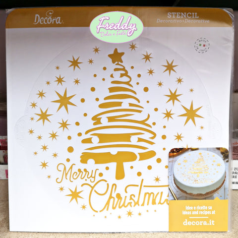 Stencil decorativo merry christmas natale in plastica per alimenti decorazione torte Decora