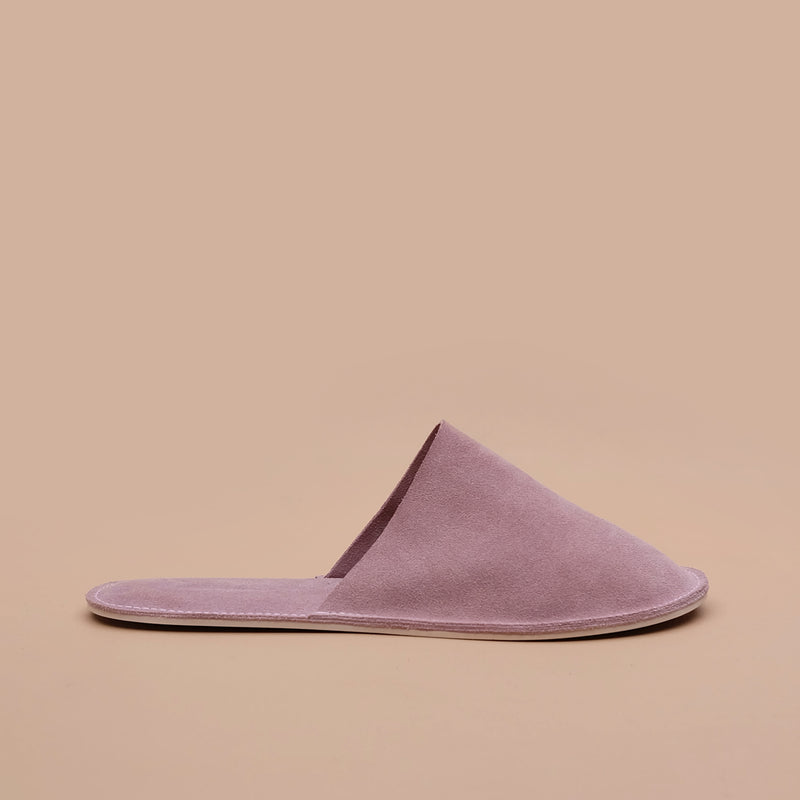 Lounge Slippers in Old Rose Suede Leather